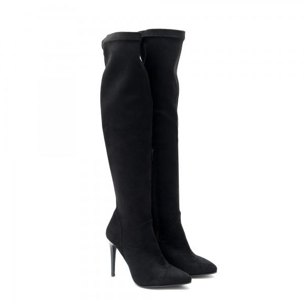 Дамски елегантни остри чизми на висок тънак ток от висококачествен стреч в черно-1859