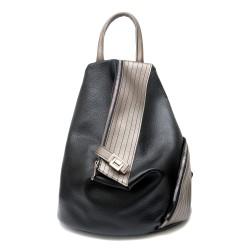 Дамска раница от еко кожа в комбинация от черен и сив цвят с асиметрично закопчаване-1261