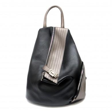 Дамска раница от еко кожа в комбинация от черен и сив цвят с асиметрично закопчаване-1317