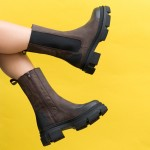 Дамски боти от естествена кожа в кафяв цвят и опушен черен ефект с ципи ластик на удобно ходило-1851