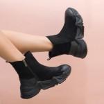 Боти тип чорап от естествен велур и естествена кожа в черно с цип-1847