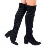 Дамски ботуши,тип чизми ,изработени от висококачествен стреч с елегантен нисък ток в черно-1856