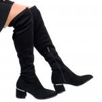 Дамски остри елегантни чизми на плътен ток в черен цвят от висококачествен стреч-1857