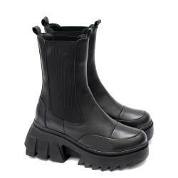 Дамски боти от естествена кожа тип Челси на модерно ходило в черен цвят-5052