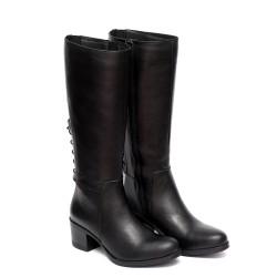 Дамски елегантни ботуши от естествена кожа черни с ластик и декоративни връзки-272