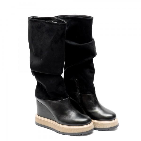Дамски елегантни ботуши от естествена кожа и набук на платформа-685