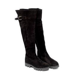 Дамски  ботуши тип чизми от естествен велур черни-688