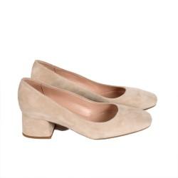 Дамски обувки от естествен велур бежови - 358
