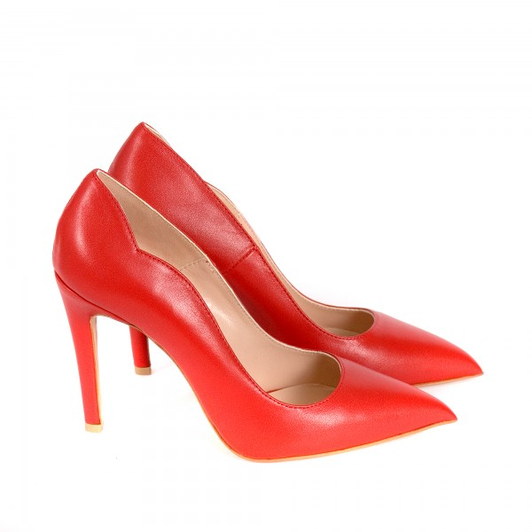 Дамски елегантни обувки от естествена кожа червени - 359