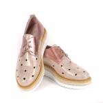 Дамски обувки от естествена кожа с перфорация розови - 364