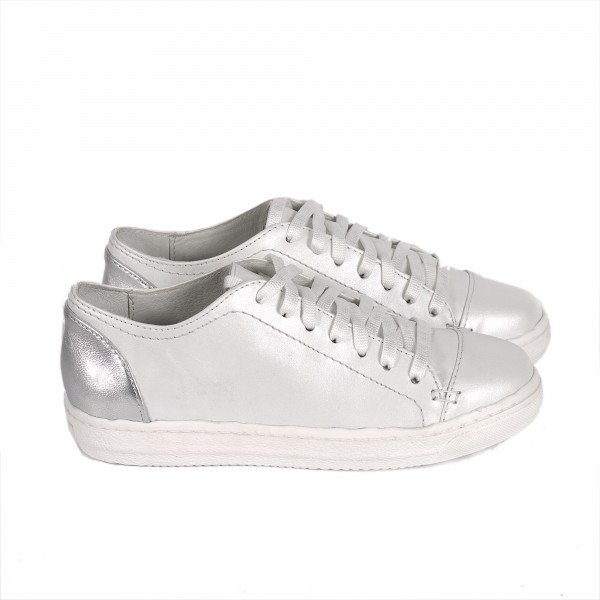 Дамски  обувки пролетни от естествена кожа бели - 363
