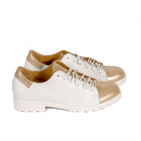 Дамски обувки от естествена кожа бяло + златно - 284
