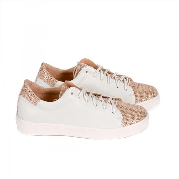 Дамски спорти обувки от естествена кожа бяло + пудра - 295