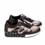 Дамски спорни обувки от естествена кожа черно + розово - 348