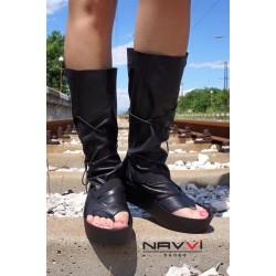Дамски летни ботуши от естествена кожа черни - 459