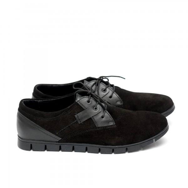 Мъжки  обувки от естествен велур черни - 407