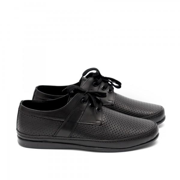 Мъжки  обувки от естествена кожа с перфорация черни-404