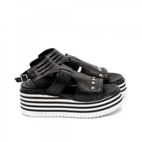 Дамски сандали от естествена кожа черни - 412