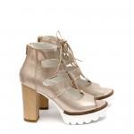 Дамски сандали от естествена кожа златисти с висок ток-413