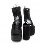 Дамски сандали от естествен велур черни на ток - 14
