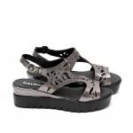 Дамски сандали от естествена кожа сребристи - 418