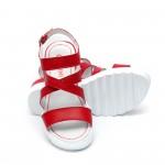 Дамски сандали от естествена кожа червени - 417