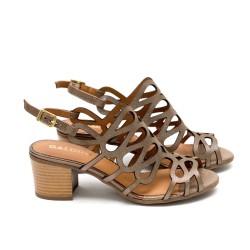 Дамски сандали от естествена кожа, таупе -419