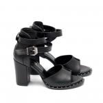 Дамски сандали от естествена кожа черни с ток - 424