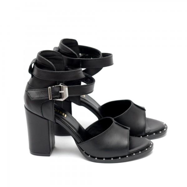 Дамски черни сандали от естествена кожа с висок ток-424