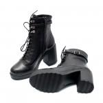 Черни дамски топли боти от естествена кожа с широк ток-1043