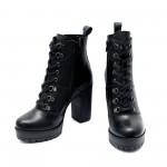Дамски черни боти от естествена кожа на висок ток и грайферно ходило-1047