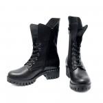Черни дамски зимни боти от естествена кожа с атрактивен дизайн-1050