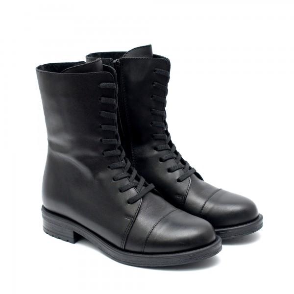 Есенно-зимни черни боти от естествена кожа с удобно ходило,връзки и цип-1049