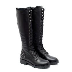 Черни дамски ботуши от естествена кожа с капси-1051