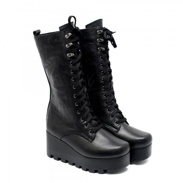 Дамски черни топли удобни платформи с високо ходило от естествена кожа-1045