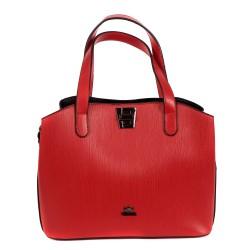 Дамска червена чанта от еко кожа с ефектно закопчаване-969