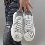 Дамски пролетни обувки от естествена кожа с лазерна перфорация в комбинация бяло и сребристо-1632