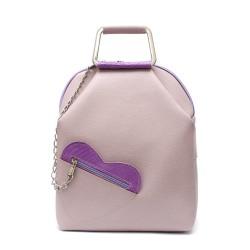 Ежедневна дамска раница от еко кожа с аксесоар сърце в лилаво-95