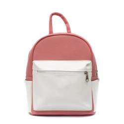 Ежедневна и практична дамска раница от еко кожа в комбинация розово и бяло-84