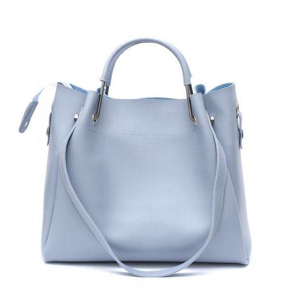Дамска ежедневна чанта от синя еко кожа с две дръжки-1786