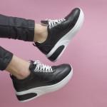 Черни дамски спортно-елегантни обувки с връзки от висококачествена естествена кожа-1651