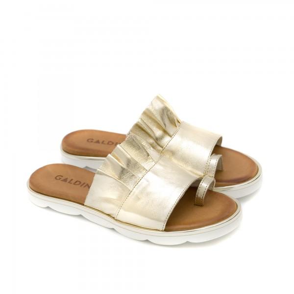 Златисти дамски чехли от естествена кожа с модерен дизайн-1267