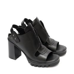 Елегантни дамски сандали с висок ток от естествена кожа с платформа в черно-1313
