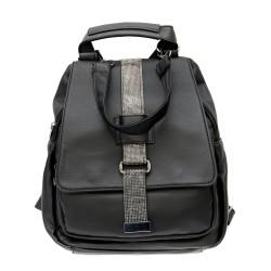Дамска черна раница от еко кожа с модерен дизайн-1314