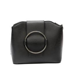 Малка кокетна дамска чанта в черен цвят от еко кожа-1316
