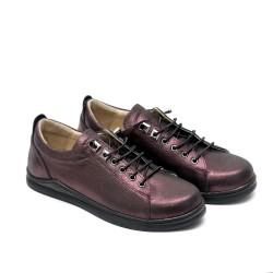 Дамски есенни обувки от естествена кожа бордо-581
