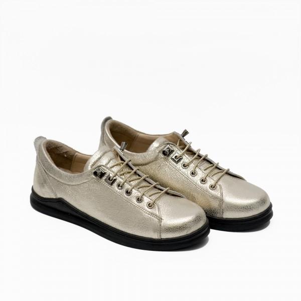 Дамски есенни обувки от естествена кожа в светло златист цвят и връзки-582