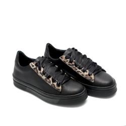 Дамски кецове от естествена кожа черни MATISA черно + леопард-596
