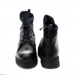 Дамски боти от естествена кожа в черно и сребристо-602