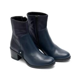 Дамски елегантни боти от естествена кожа с нисък ток сини-604